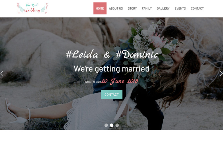 The Real Wedding - A Free OnePage HTML5 Responsive Template